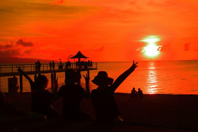 フサキビーチからの夕焼け